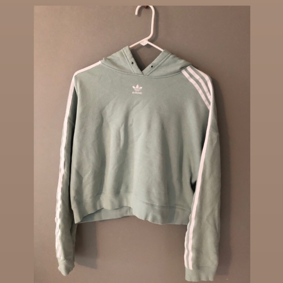 Urban Outfitters Tops - Adidas Turquoise Cropped Hoodie